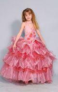 Бальное платье розовое с рюшами;  Артикул Б20