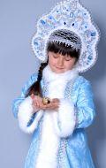 Костюм Снегурочка (голубая мех узор с кокошником)