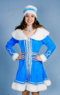 Костюм Снегурочка (короткое платье бархат); Артикул Сг2