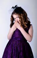 Бальное платье темно-фиолетовое гипюр;  Артикул Б52