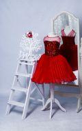 Бальное платье красное в паетках;  Артикул К12