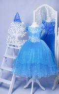 Бальное платье небесно-голубое бусины;  Артикул СМ94