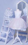 Бальное платье бело-розовое фатин с вышивкой; Артикул СМ130
