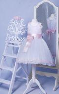 Бальное платье белое с розовой лентой;  Артикул М16