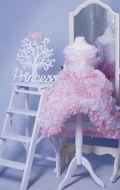 Бальное платье бело-розовое рюш;  Артикул СМ41