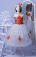 Бальное платье бело-оранжевое фатин; Артикул СМ27