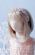 Бальное платье золотистое расшитое с ободком;  Артикул Б58
