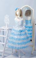 Бальное платье бело-голубое ярус; Артикул СМ74