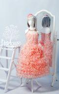 Бальное платье персиковое кучери; Артикул СМ68
