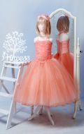 Бальное платье персиковое фатин; Артикул СМ65