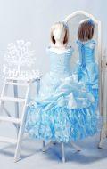 Бальное платье голубое в склады; Артикул СМ104