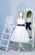 Бальное платье белое с фиолетовой лентой и ободком;  Артикул СМ28
