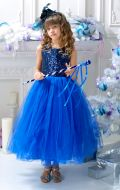 Бальное платье синее в паетках; Артикул Н19