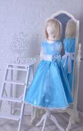 Бальное платье бирюзовое гипюр с бантом;  Артикул СМ126