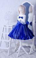 Бальное платье молочно-синее гофре; Артикул СМ126