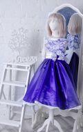 Бальное платье фиолетовое гипюр с бантом;  Артикул СМ128