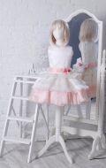 Бальное платье молочно-розовое гофре;  Артикул СМ109