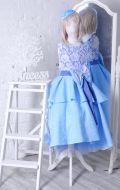 Бальное платье сине-голубое парча жатка; Артикул Б61