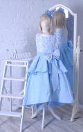 Бальное платье голубое парча жатка; Артикул Б60