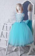 Бальное платье молочно-бирюзовое фатин; Артикул СМ115