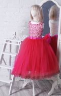 Бальное платье молочно-розовое фатин; Артикул СМ116