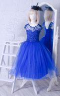 Бальное платье синее блеск фатин; Артикул СМ123