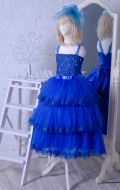 Бальное платье синее фатин; Артикул СМ119