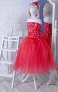 Бальное платье красное фатин со стразами; Артикул СМ125