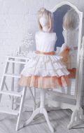 Бальное платье молочно-бежевое гофре; Артикул СМ108