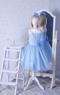 Бальное платье голубое бусины; Артикул СМ133