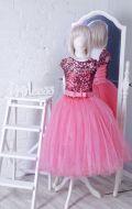 Бальное платье коралловое блеск фатин; Артикул СМ131