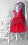Бальное платье красное в узор; Артикул СМ132