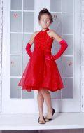 Бальное платье красное стойка; Артикул К10